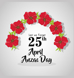 Flowers design to anzac day memorial vector