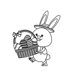 Funny easter rabbit with basket egg image line vector