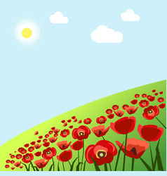 green field with red poppies under hot summer sun vector image vector image