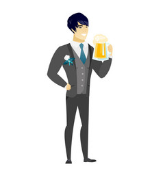 groom drinking beer vector image