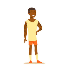 Happy young man in shorts and sleeveless shirt vector