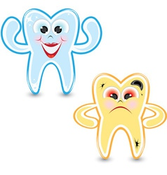 healthy and bad tooth vector image