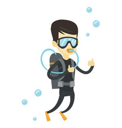 Man diving with scuba and showing ok sign vector