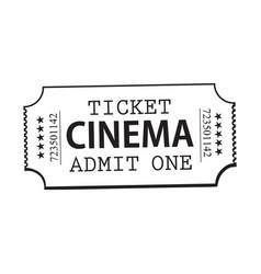 One retro style vintage cinema movie ticket vector