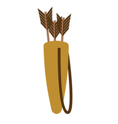 Quiver of arrows isolated archer accessory on vector