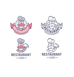Restaurant logo set vector image
