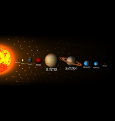 Solar system background with sun and planets vector image