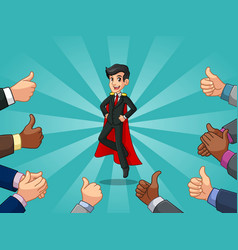 superhero businessman in black suit vector image vector image