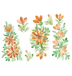 watercolor flowers in different styles vector image