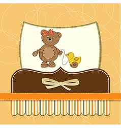 welcome baby card with girl teddy bear and her vector image vector image