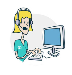 Woman with phone at computer vector