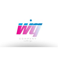 wq w q alphabet letter combination pink blue bold vector image vector image
