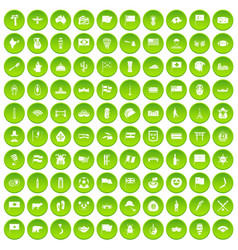 100 national flag icons set green circle vector