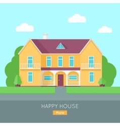 Happy House with Terrace Banner Poster Template vector image