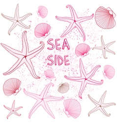 Seaside seashells background vector