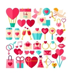Happy valentines day objects set vector