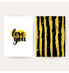 Love you retro gold posters vector