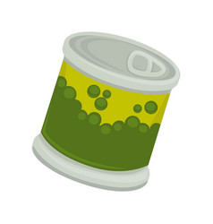 Canned vegetable pea in little iron plastic bank vector