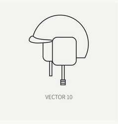 line flat military icon - army helmet army vector image