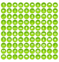 100 national flag icons set green circle vector