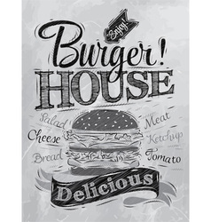 Poster burger hous coal vector
