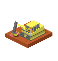 Excavator machine dig ground isometric vector
