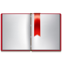 Open book with white pages red cover and red vector