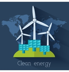 Flat eco nature clear energy of the world vector
