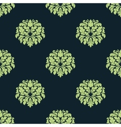 Seamless green colored damask pattern vector