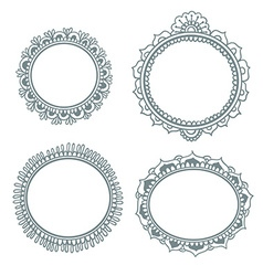 Set with abstract floral frames in indian style vector