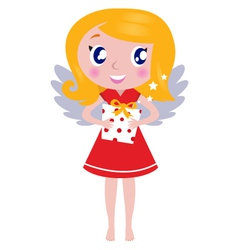 Christmas cartoon angel girl with gift vector