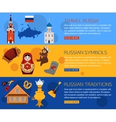 Set of russia travel horisontal banners with place vector