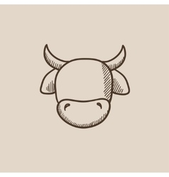 Cow head sketch icon vector