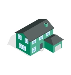 Two storey house with garage icon vector