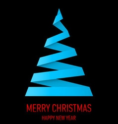 Christmas tree made of folded paper origami 06 vector image