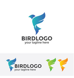 Abstract blue bird logo vector