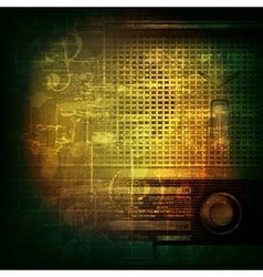 abstract green grunge music background with retro vector image vector image