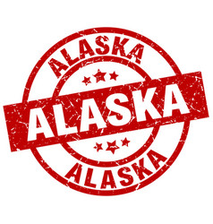 Alaska red round grunge stamp vector