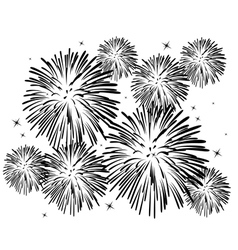 Black and white fireworks vector