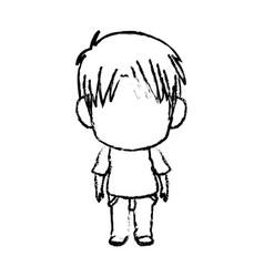 Monochrome Silhouette Of Kawaii Head Of Little Boy