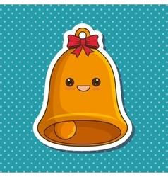 christmas bell character kawaii style vector image vector image