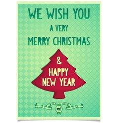 Christmas vintage poster with wishes vector image