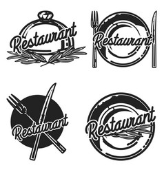 Color vintage restaurant emblems vector