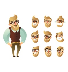 Emotions Man Icon Set vector image