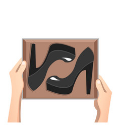 fashion shoes on the boxes vector image