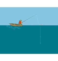 Fisherman in the boat with a fishing rod vector image vector image