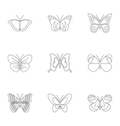 Flying butterfly icons set outline style vector