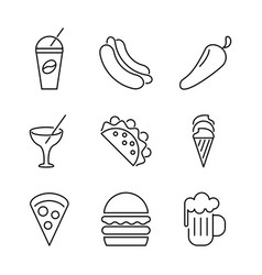 Food black and white icons vector
