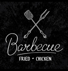 fried chicken typographical design concept vector image vector image