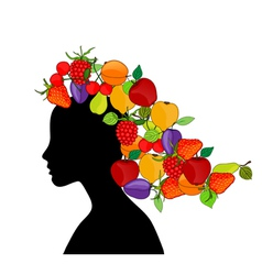 girl with fruit hair vector image vector image